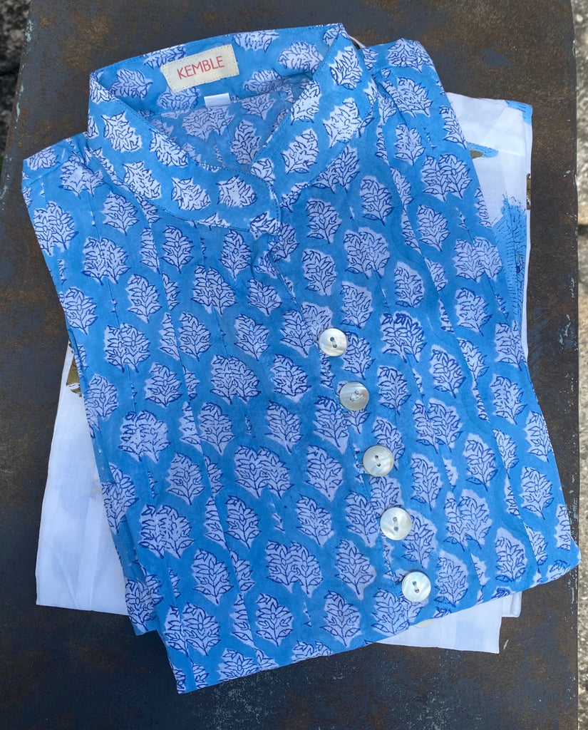Deep Periwinkle Floral Palm Beach Tunic - The Kemble Shop