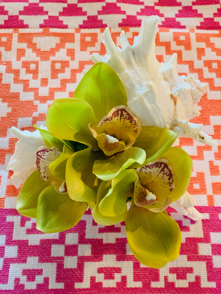 Triple Orchid Bloom in Large Conch - White, Green or Pink - thekembleshop-2