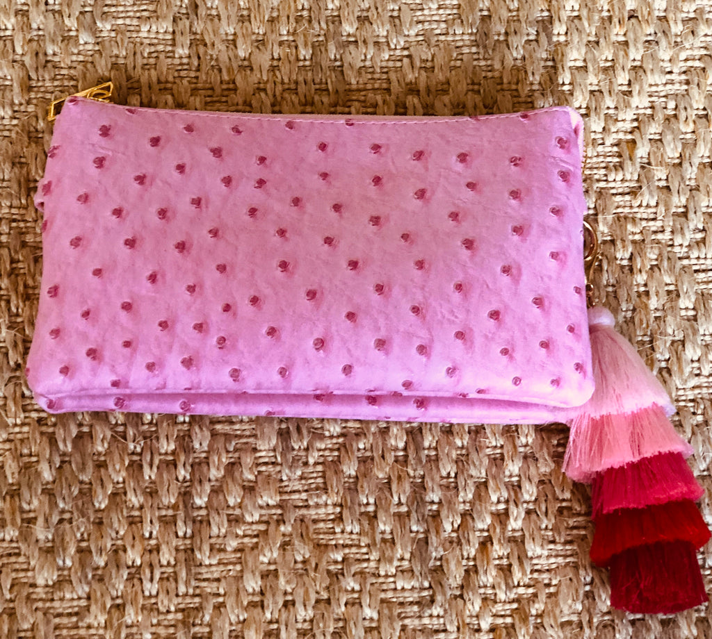 Pink Small Faux Ostrich Clutch with Tassel - The Kemble Shop