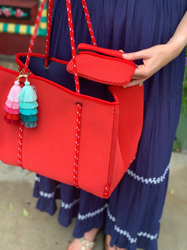 Red Perforated Neoprene Beach Tote w/Tassels - The Kemble Shop