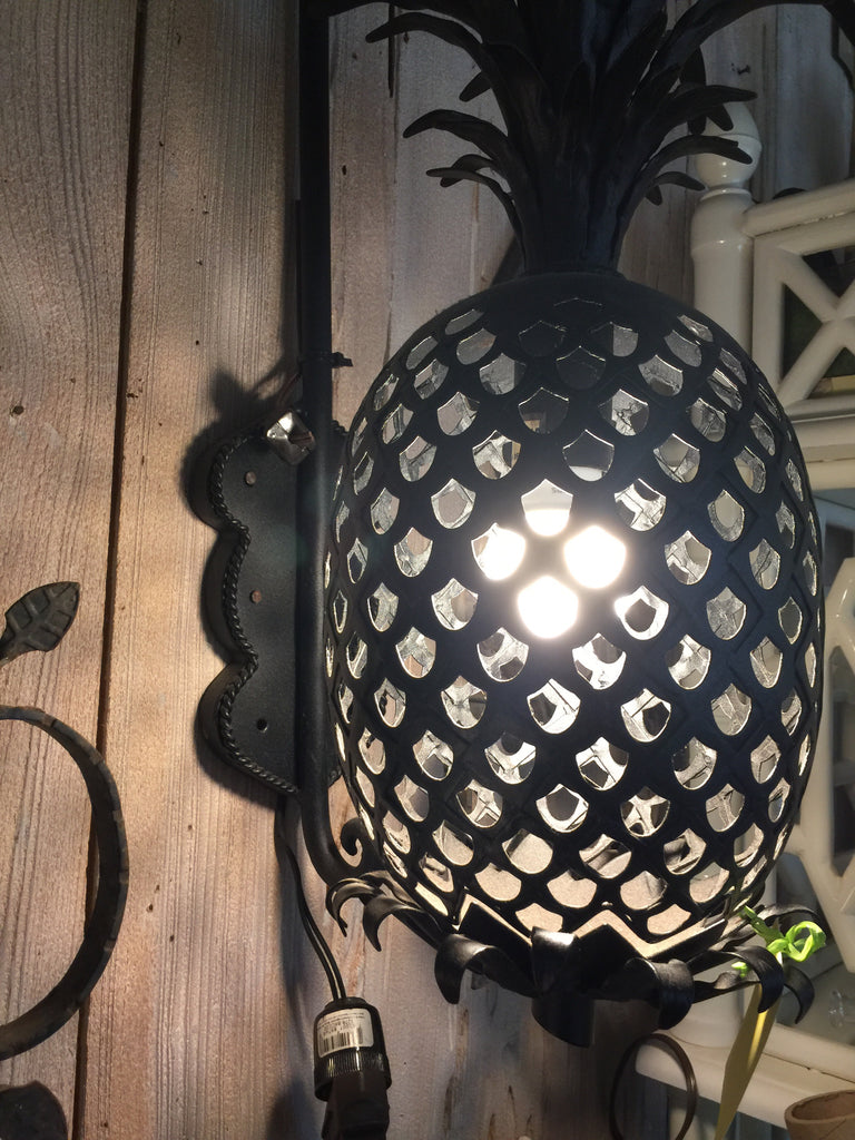 Black Powder Coated Pineapple Sconces w/Arm - The Kemble Shop