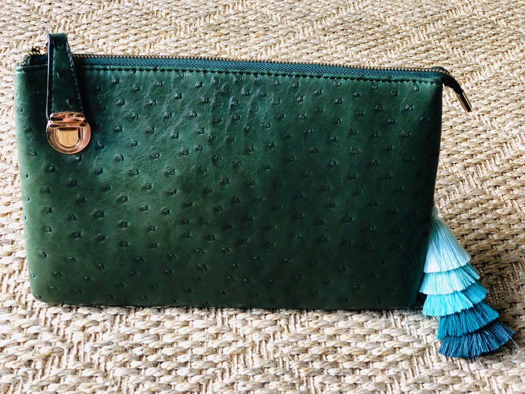 Evergreen Large Faux Ostrich Clutch w/ Tassel - thekembleshop-2
