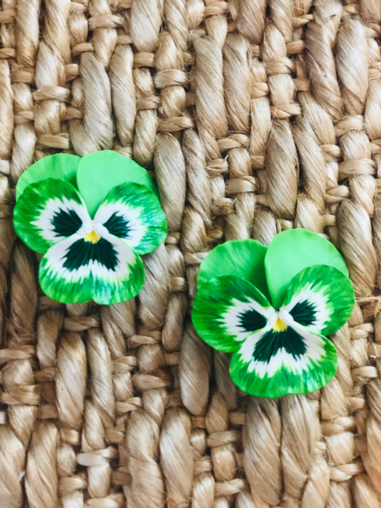 Green Large Pansy Earrings - The Kemble Shop