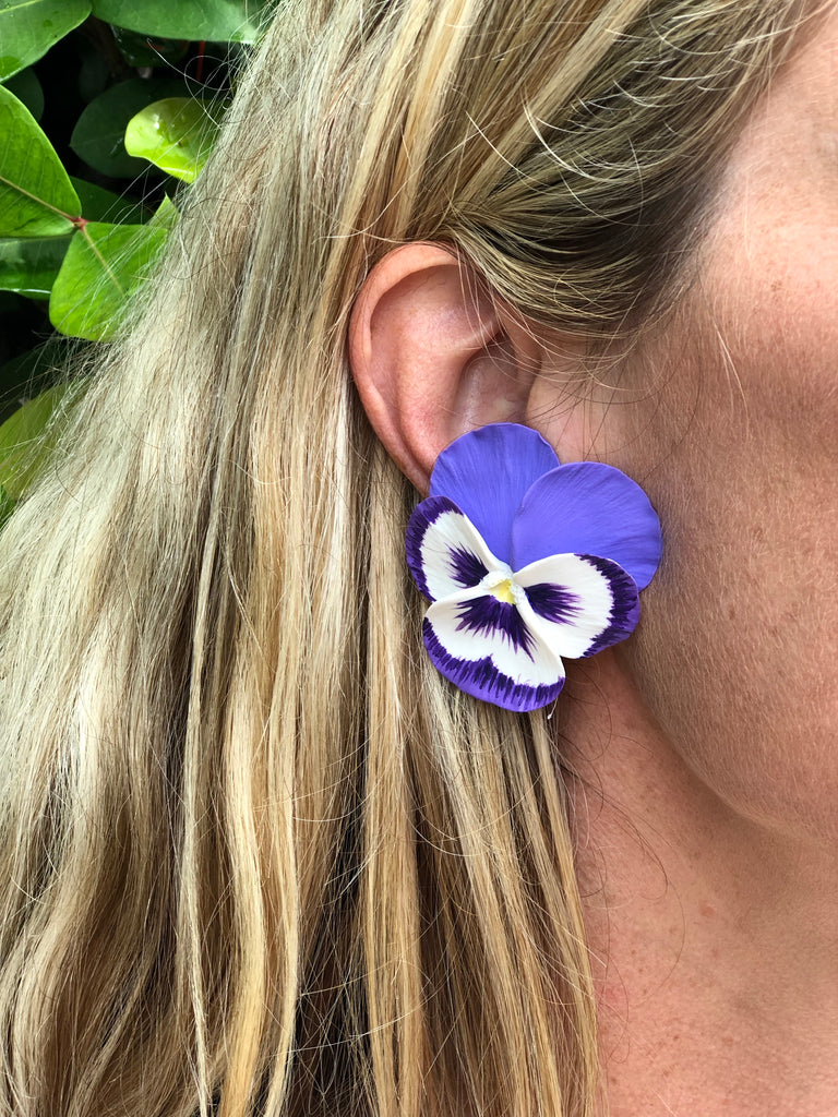 Purple Large Pansy Earrings - The Kemble Shop