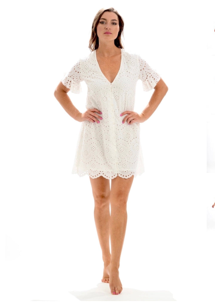White Eyelet Lola Dress - Walker & Wade - The Kemble Shop