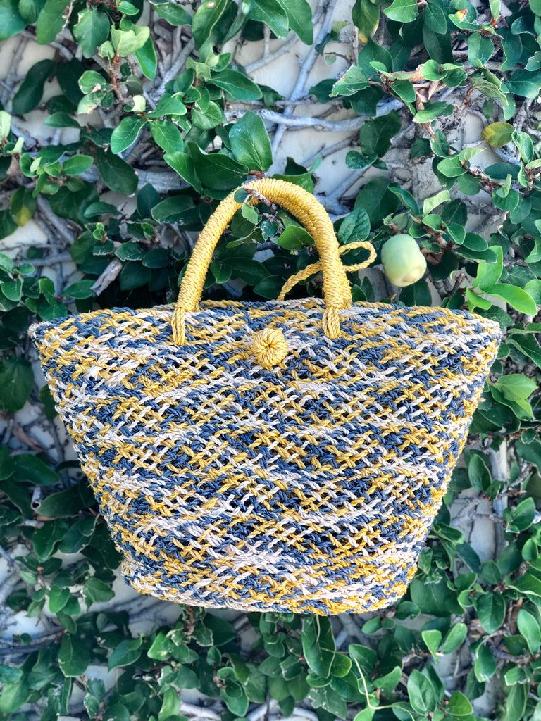 Yellow and Blue Natural Grass Woven Tote - The Kemble Shop