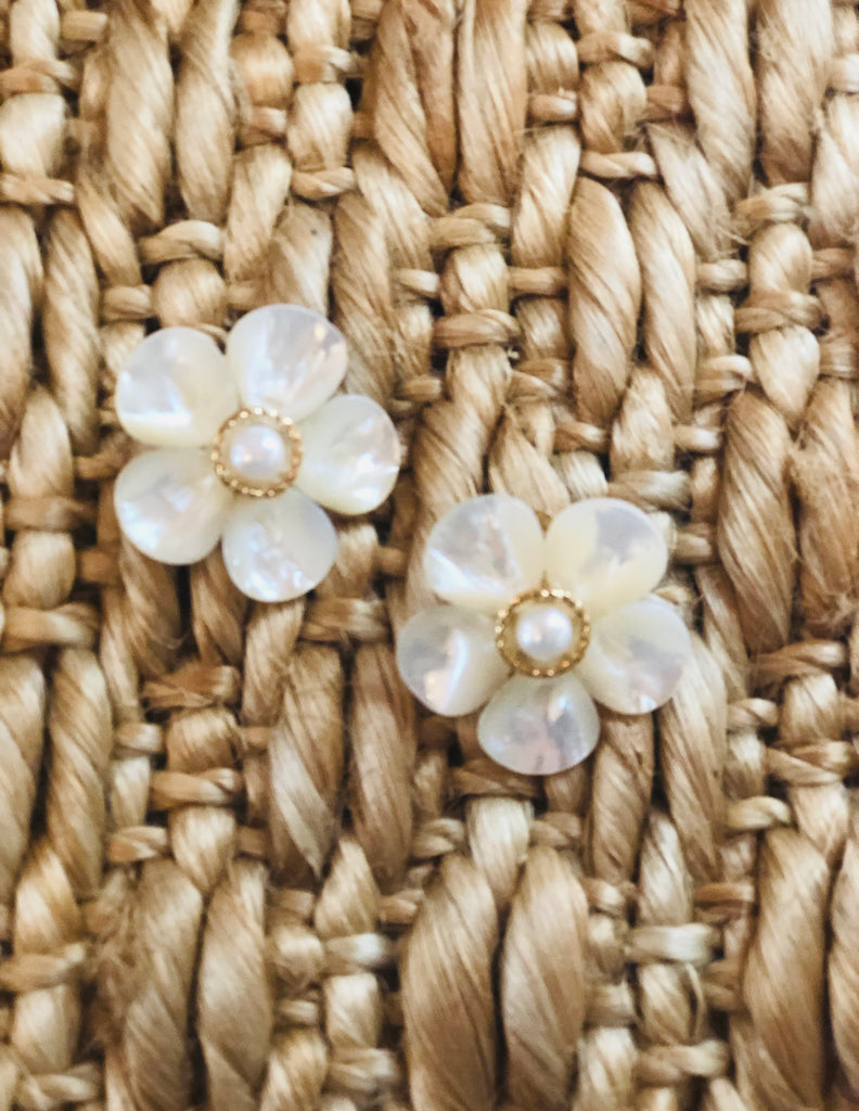 Polly Pearl Gold Rim Earrings - The Kemble Shop