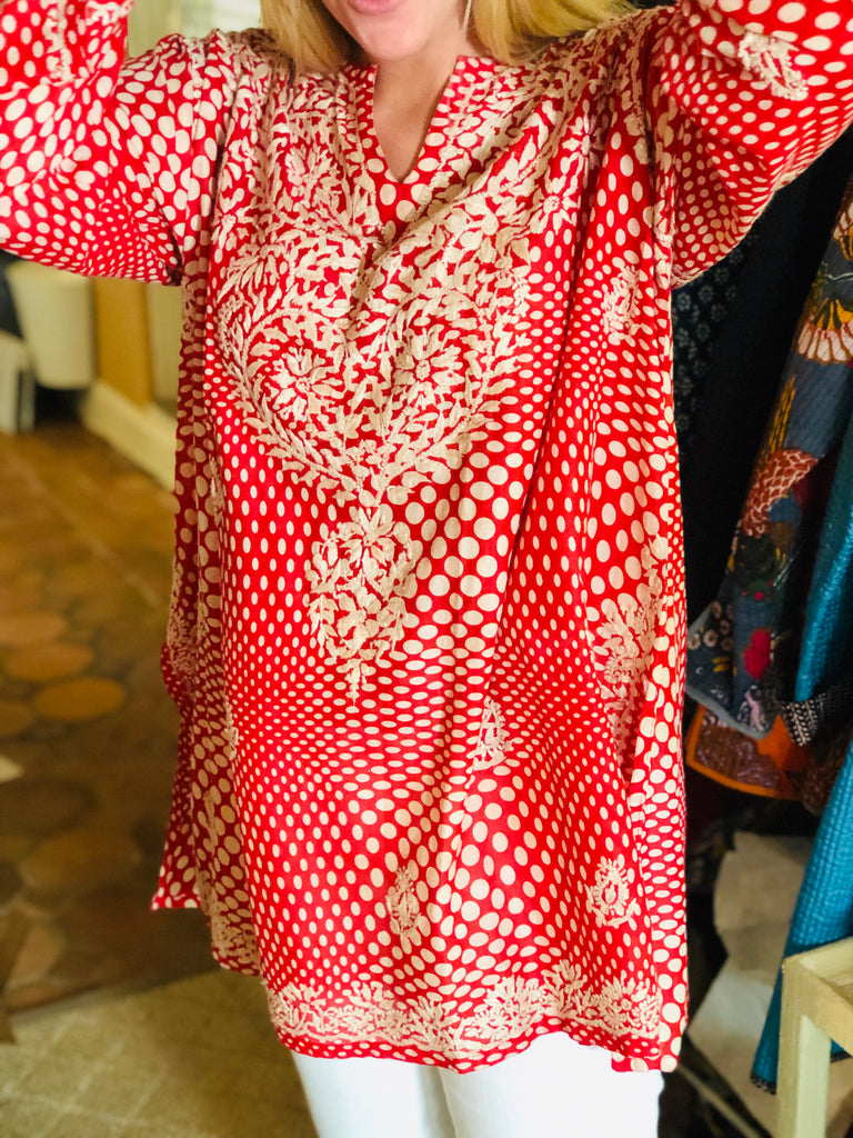 Deep Red Embroidered Tunic - thekembleshop-2