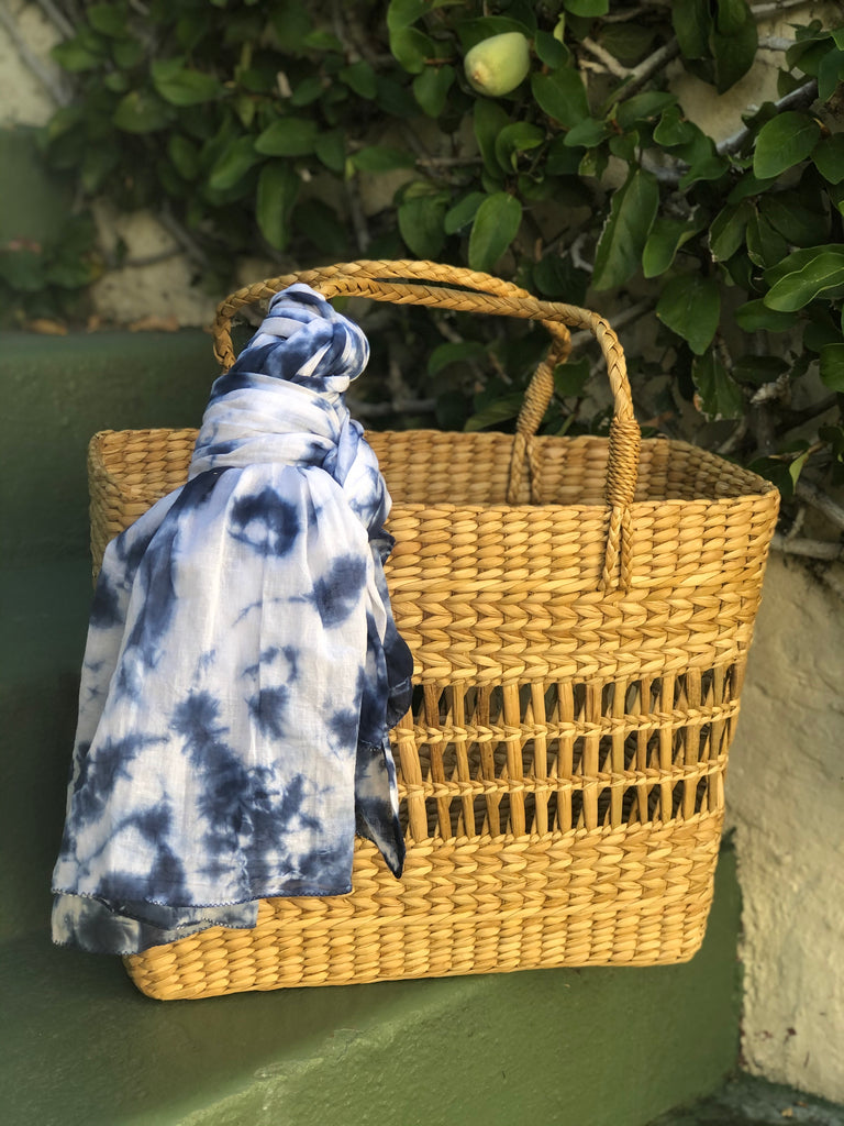 Navy Tie die Scarf - The Kemble Shop