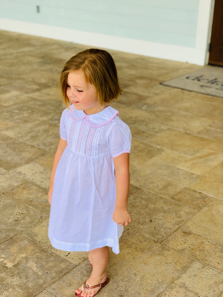 Girls Pink and White Detailed Dress - The Kemble Shop