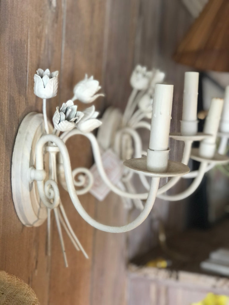 Pair of Custom White Floral Leaf Sconces - The Kemble Shop