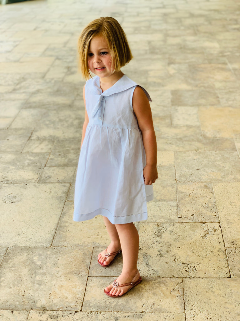 Girls Blue Sailor Childrens Dress - thekembleshop-2