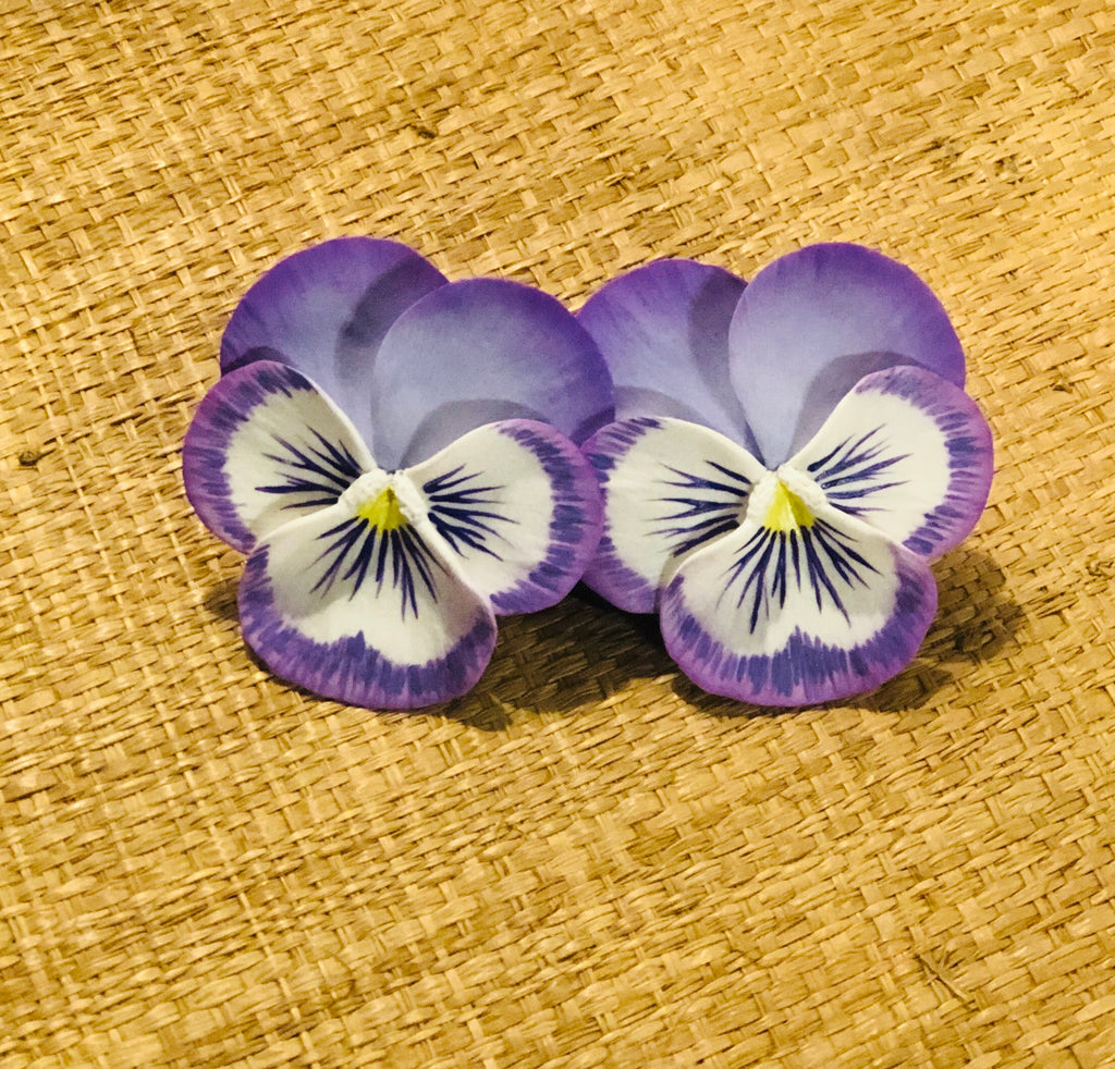 Purple Splash Large Pansy Earring - The Kemble Shop