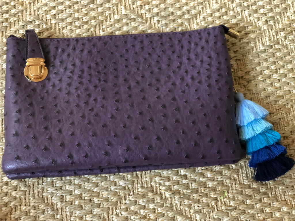 Plum Large Faux Ostrich Clutch w/Tassel - The Kemble Shop