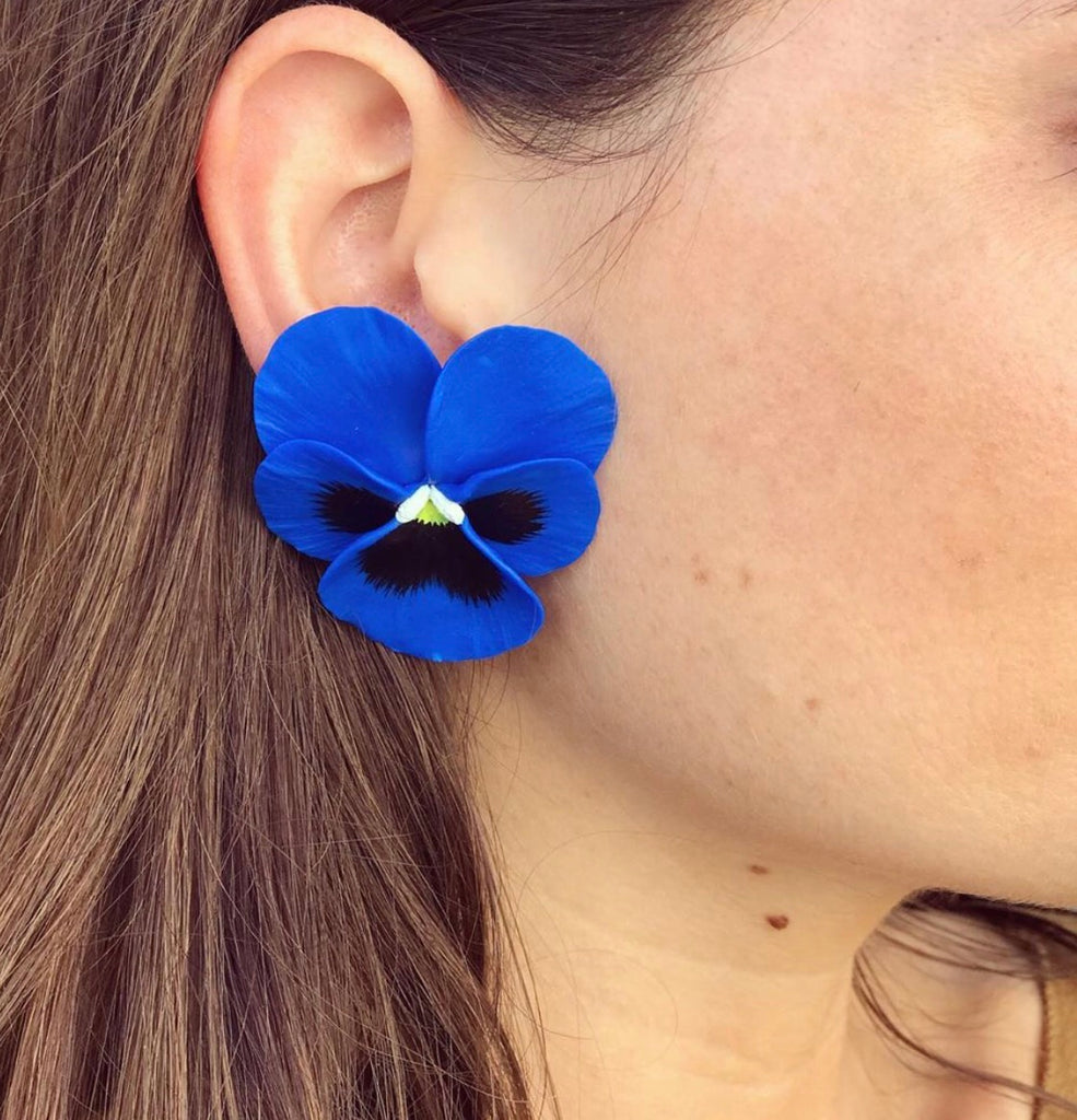 Blue Heaven Large Pansy Earring - The Kemble Shop