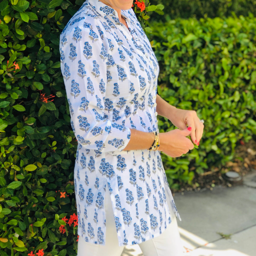 Blue and White Flowered Palm Beach Tunic - The Kemble Shop