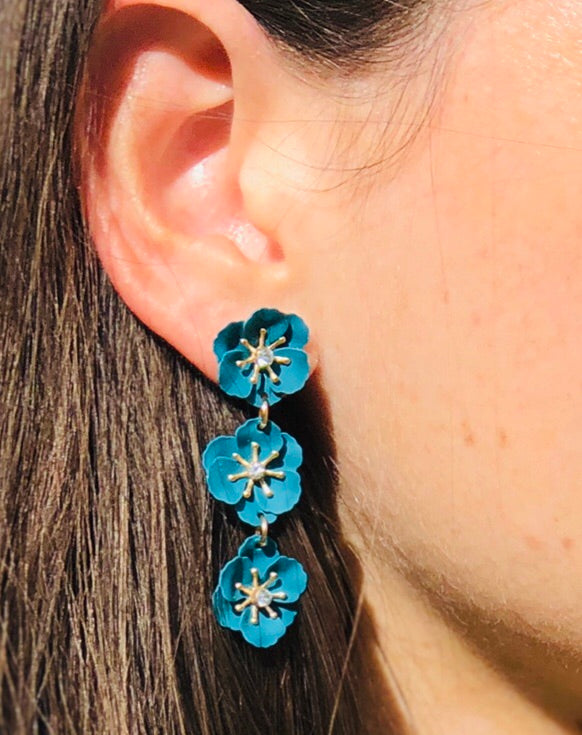Turquoise flower Drop Earrings - The Kemble Shop