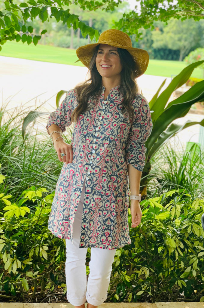Pink and Blue Ikat Palm Beach Tunic - The Kemble Shop