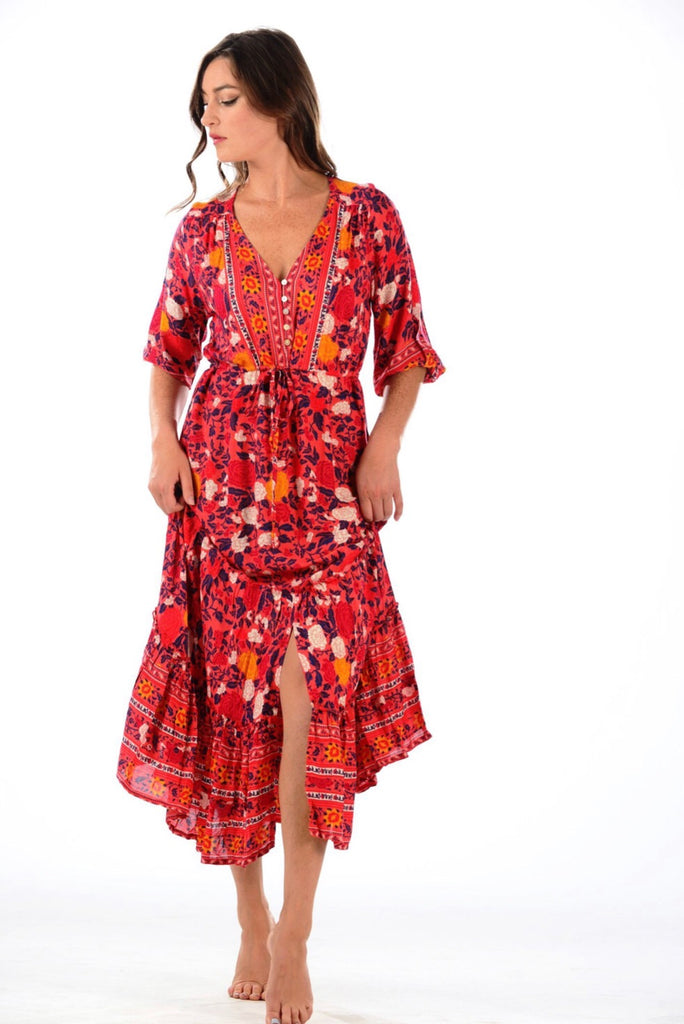 Cherry Red Carrie Dress - Walker & Wade - The Kemble Shop