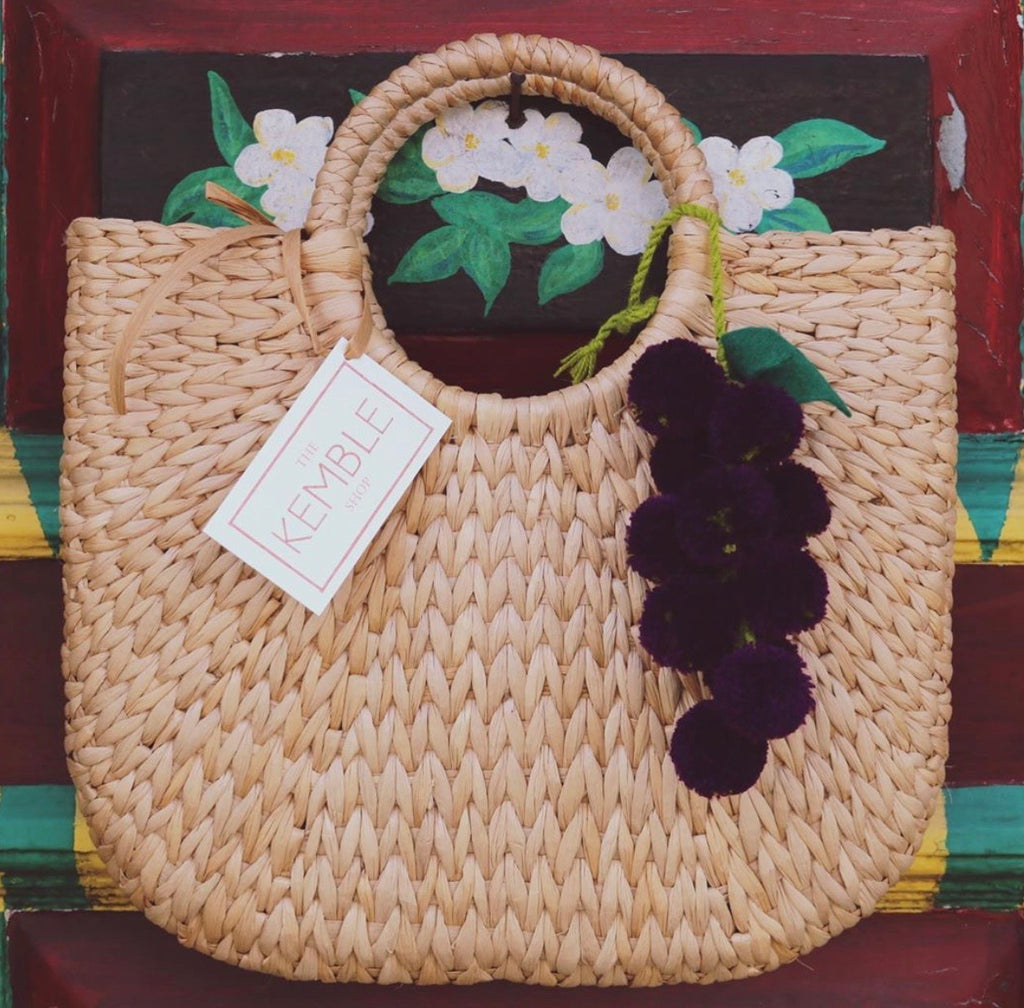 Natural Grass Woven Tote w/Fruit Pom Pom - The Kemble Shop