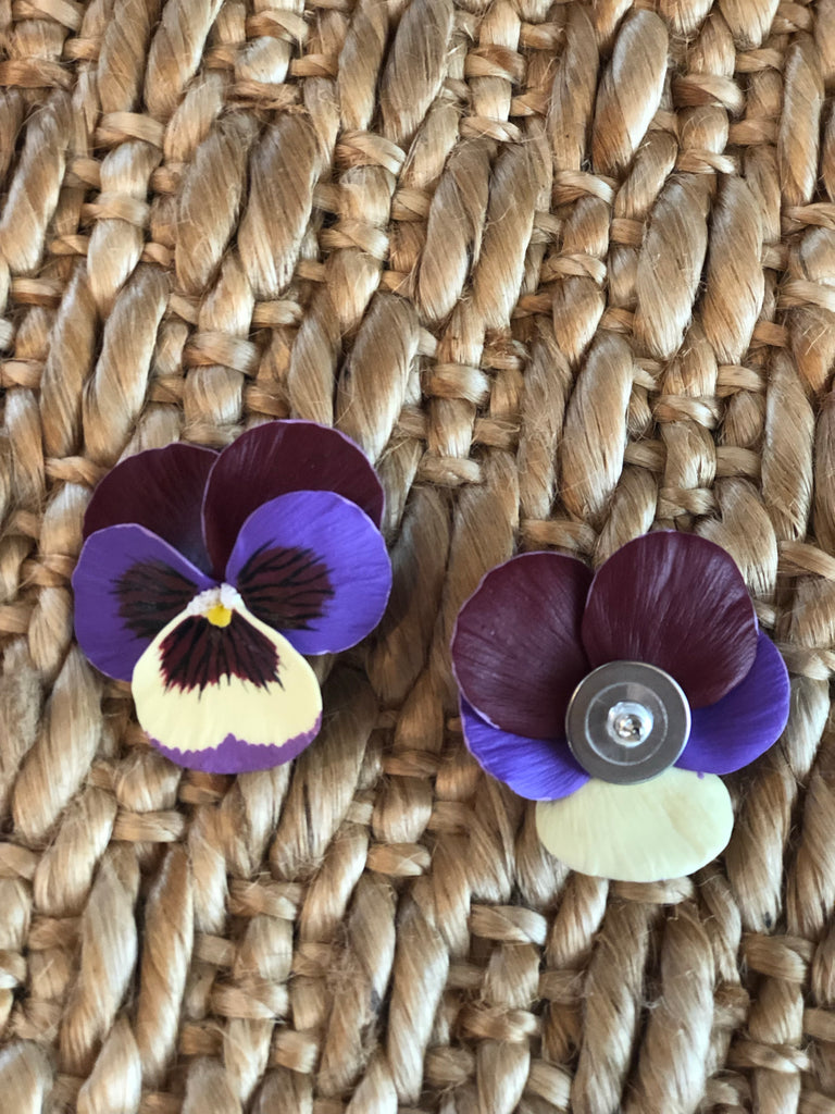 Large Multi Color Plum Pansy Earring - The Kemble Shop
