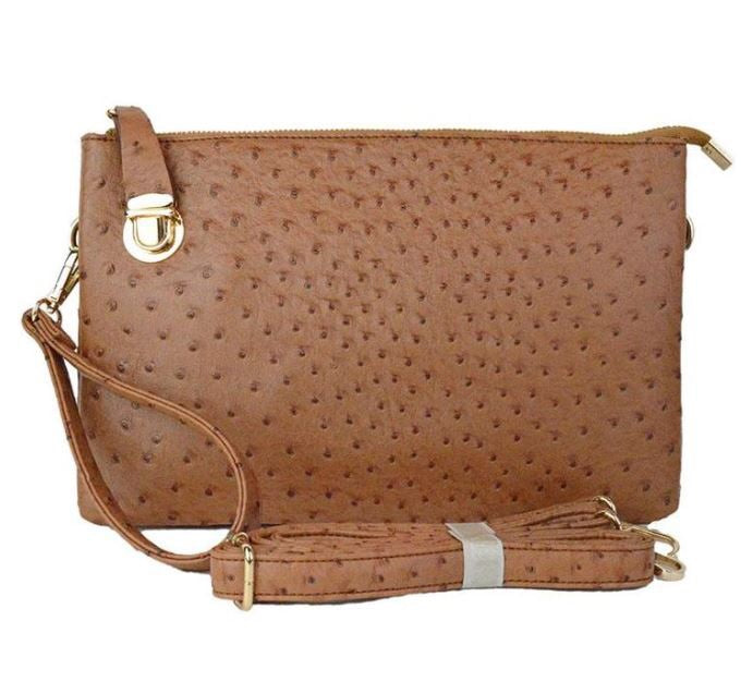 Camel Large Faux Ostrich Clutch w/Tassel - The Kemble Shop