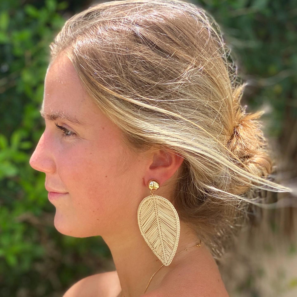 Natural Rattan Leaf Earrings - The Kemble Shop