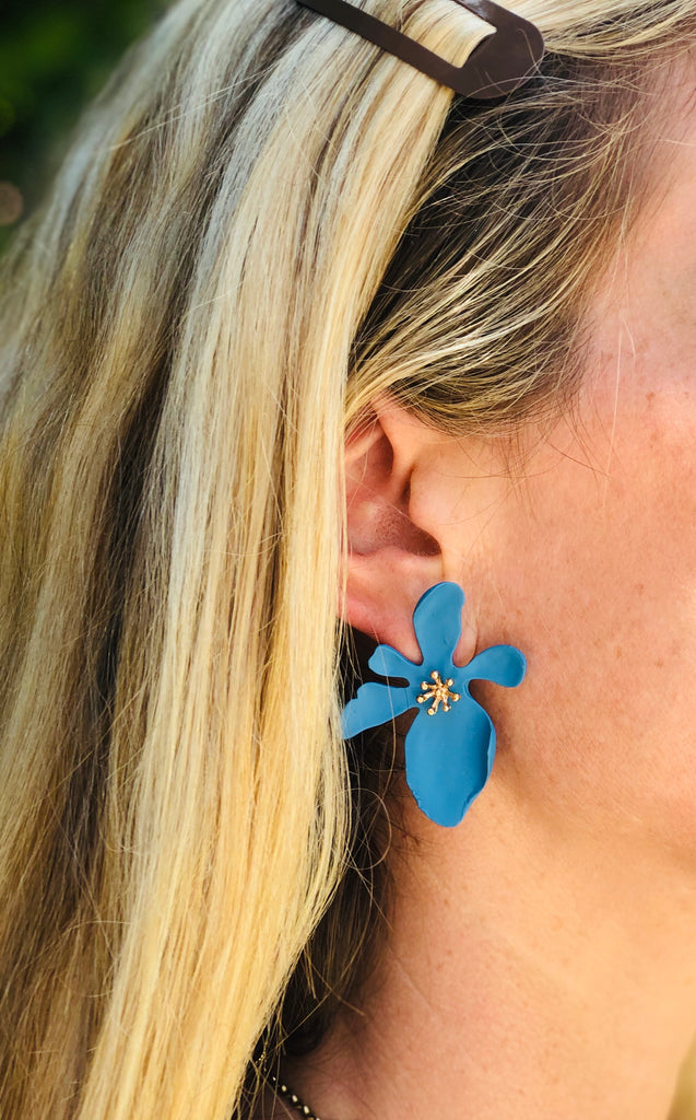 Turquoise Polymer Floral Earrings - The Kemble Shop