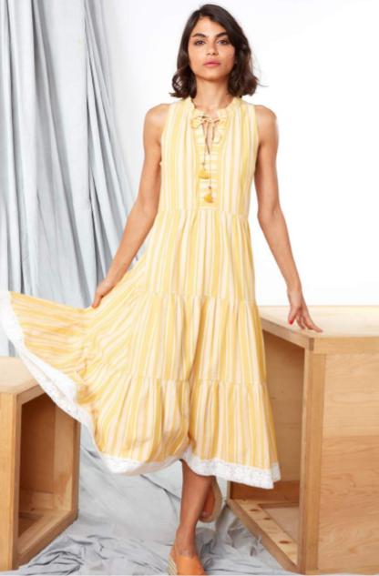 Yellow Striped Aditi Dress