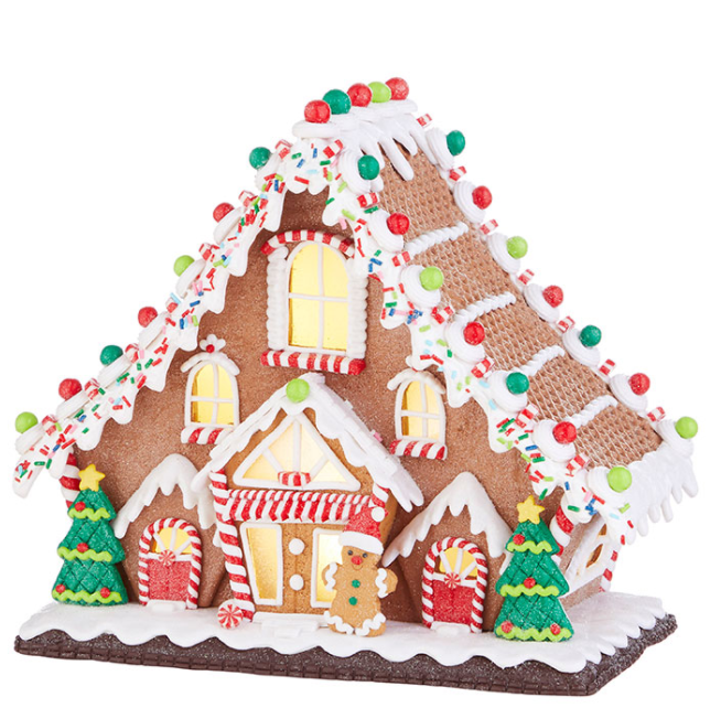 "Lighted Ginger Bread Lodge- 11.5"" - The Kemble Shop"