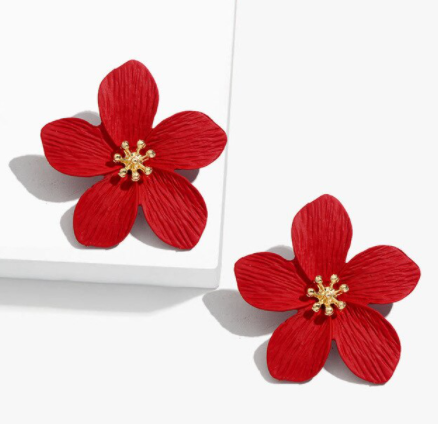 Ruby Red Floral Earrings - The Kemble Shop
