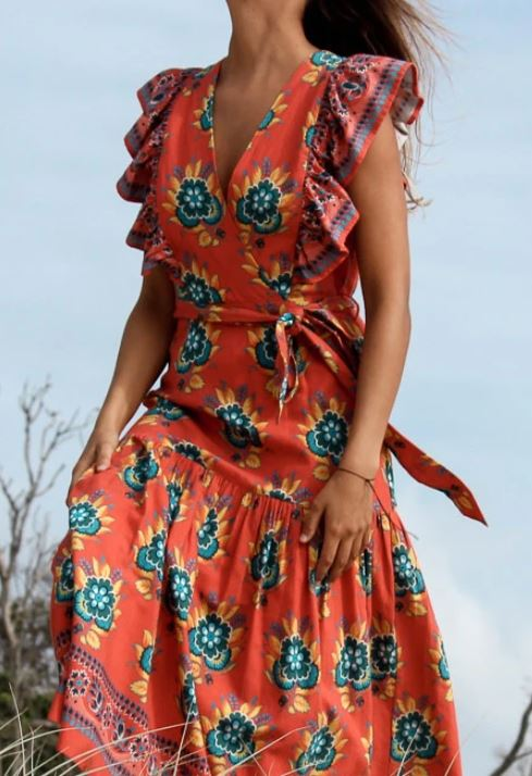 Desert Orange Flower Print Chand Dress - The Kemble Shop