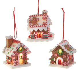 "3.25"" LIGHTED GINGERBREAD HOUSE ORNAMENTS - The Kemble Shop"