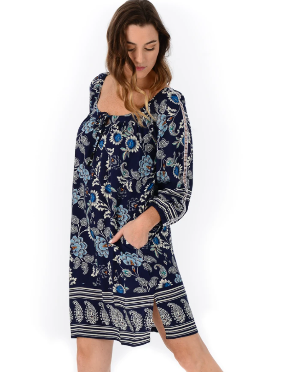 Navy Peasant Dress - Walker & Wade - The Kemble Shop