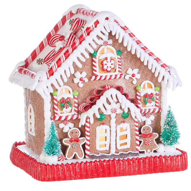 "Peppermint Lighted Ginger Bread House - 9"" - The Kemble Shop"