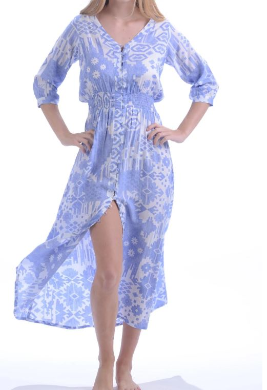 Periwinkle Ikat Kelsey Dress - Walker & Wade - The Kemble Shop