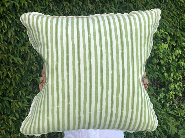 Green and White Striped Pillows - The Kemble Shop
