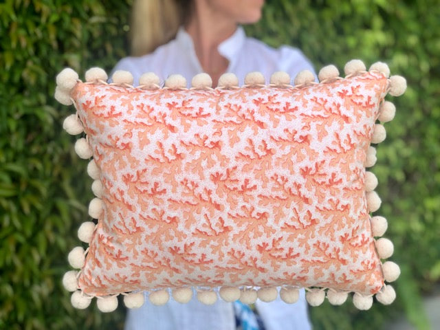 Baby Pink Coral Pillow w/Pom Pom Trim - The Kemble Shop