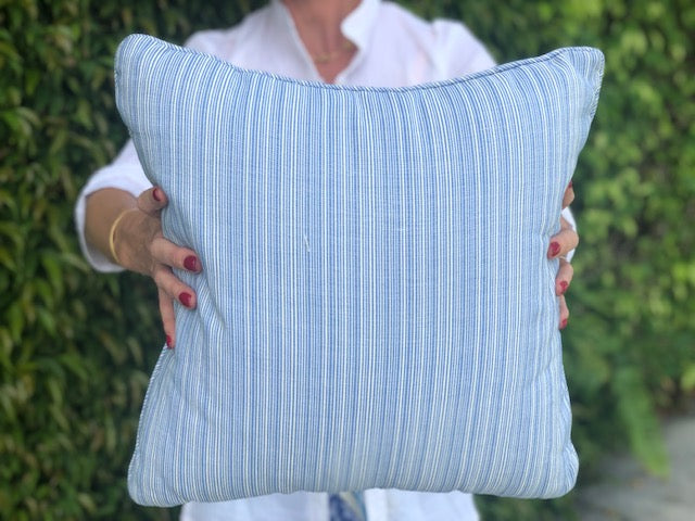Blue and White Striad Striped Pillows - The Kemble Shop