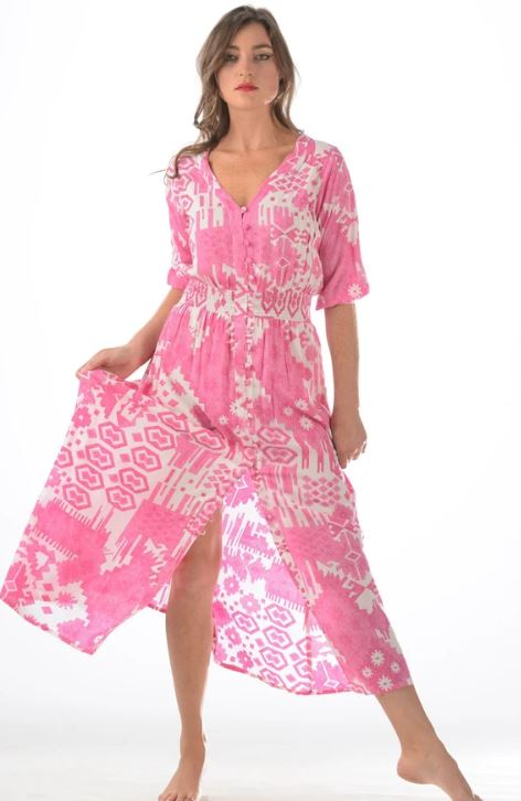 Hot Pink Ikat Kelsey Dress - Walker & Wade - The Kemble Shop