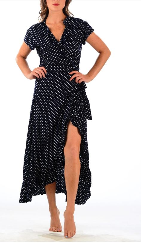 Navy Polka Dot Voyager Dress  - Walker & Wade - The Kemble Shop