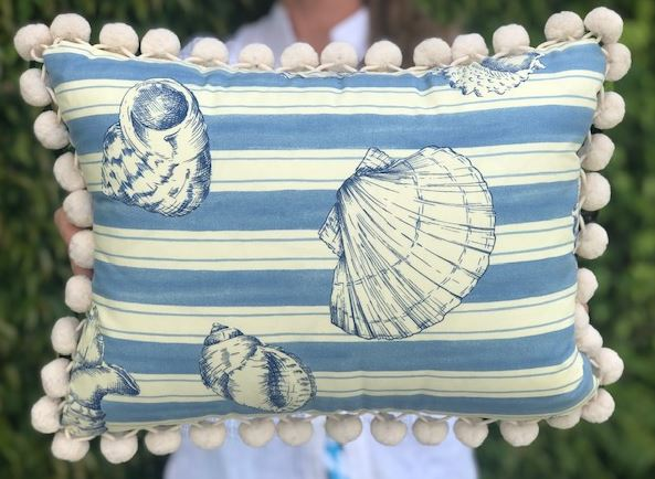 Baby Blue Seashell Pillow w/Pom Pom Trim - The Kemble Shop
