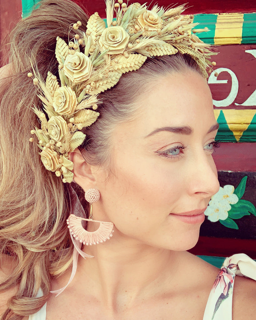 Handmade Wild Straw Flower Headpiece - The Kemble Shop