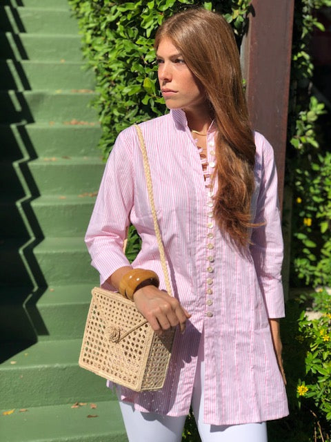 Pink and White Striped Palm Beach Tunic - The Kemble Shop