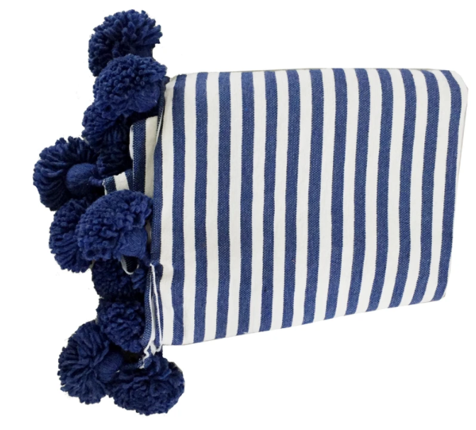 Iris Navy Pom Pom Throw - The Kemble Shop