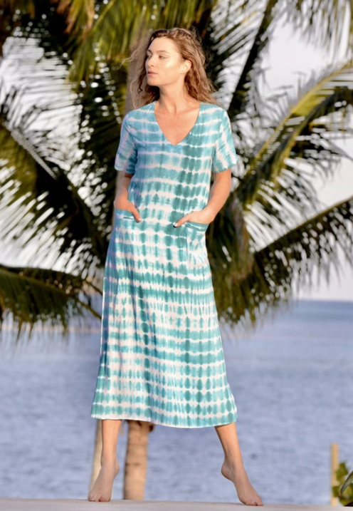 Aqua Tie Dye T-Shirt Dress- Walker & Wade - The Kemble Shop
