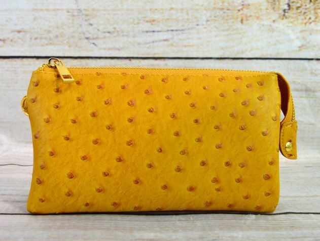 Yellow Small Faux Ostrich Clutch w/ Tassel - The Kemble Shop