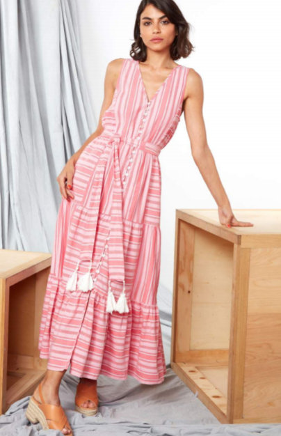 Pink Striped Zaky Dress