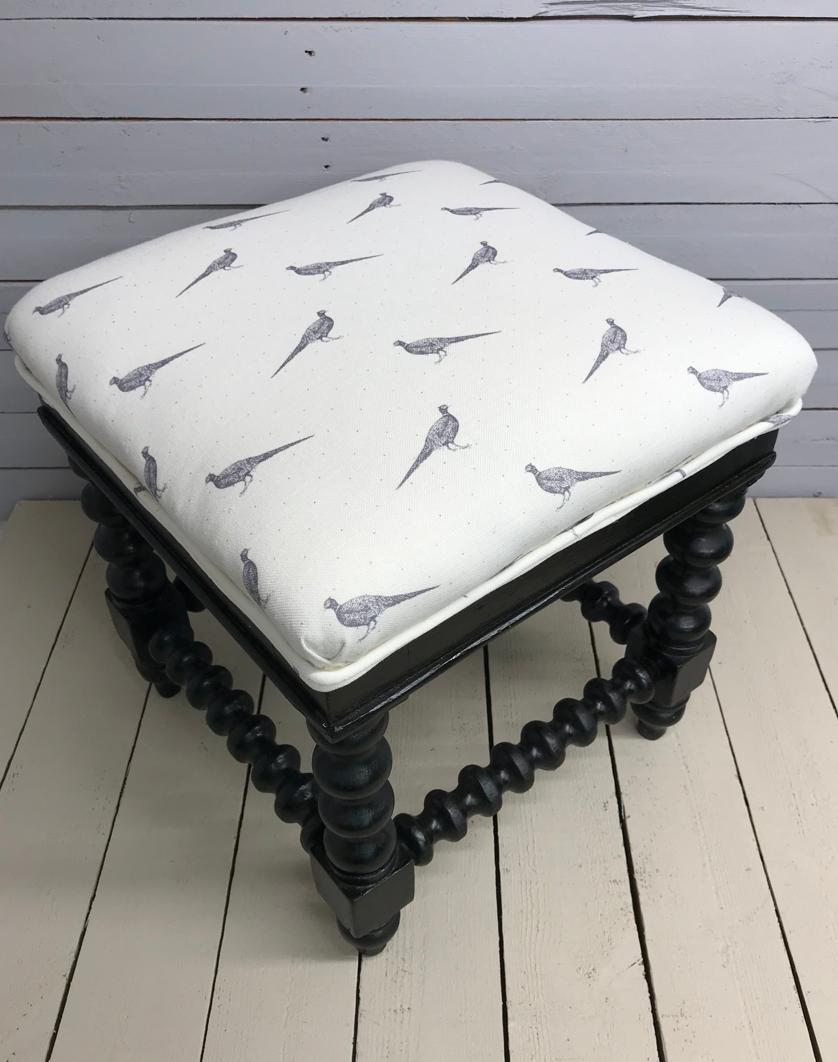 Victorian Bobbin Turned Ebonised Footstool