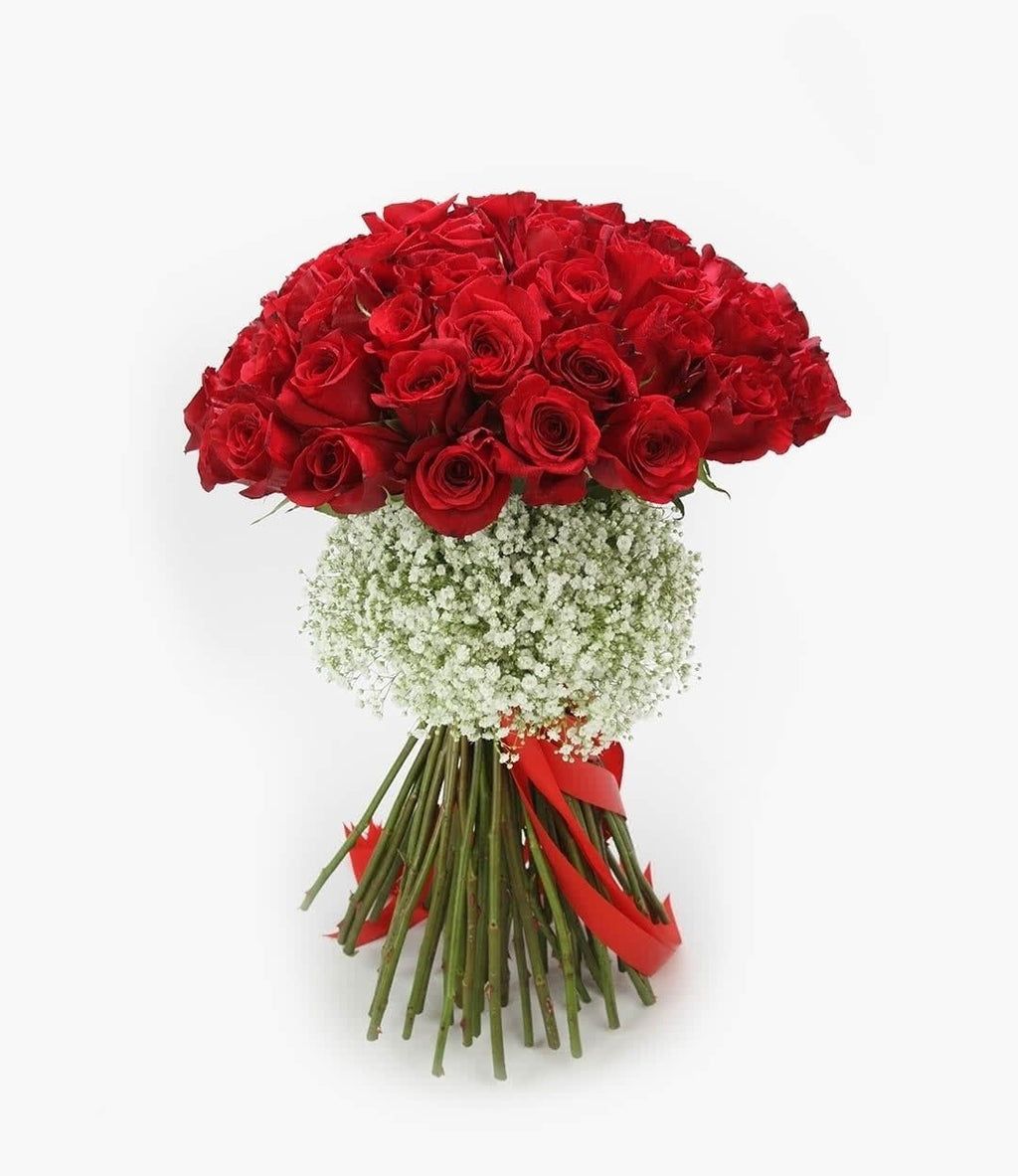 50 Red Vintage Rose Bouquet